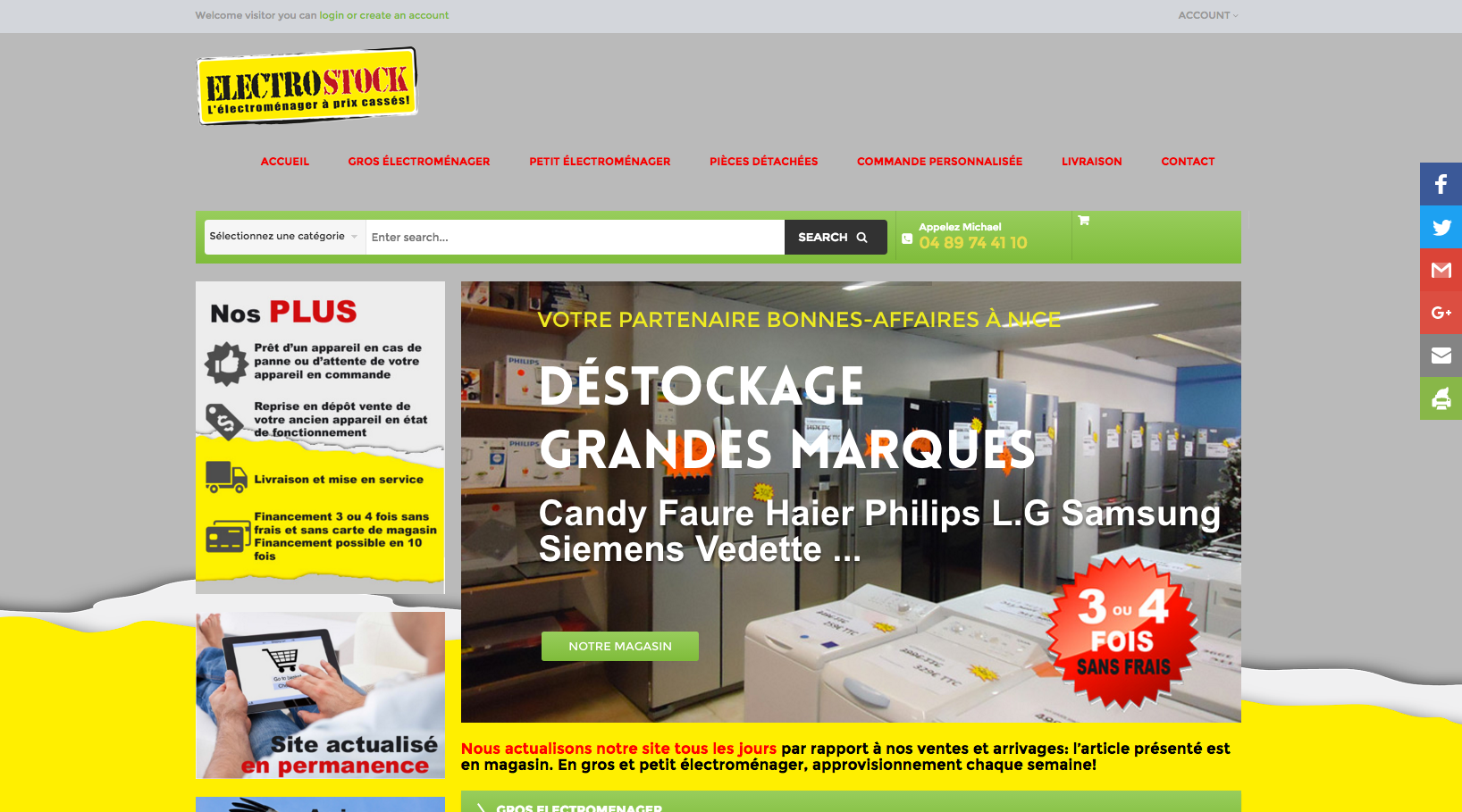 cr ation site magasin de d stockage lectrom nager nice agence web oreso. Black Bedroom Furniture Sets. Home Design Ideas