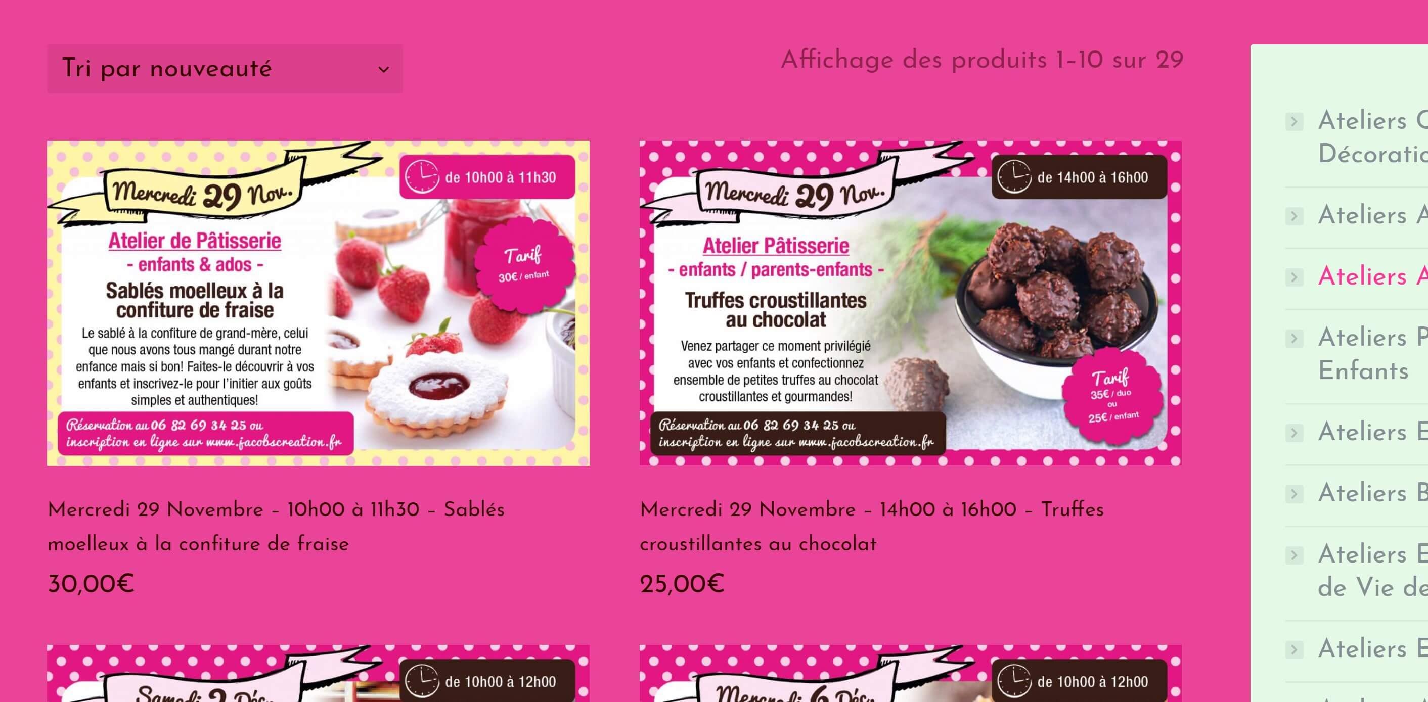 Création de site web de Cours de cuisine & patisserie à Nice ... on